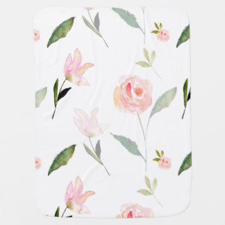 Beautiful Watercolor Floral Baby Blanket