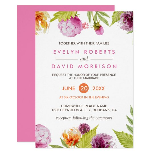 Beautiful Watercolor Floral Blossom Formal Wedding Card