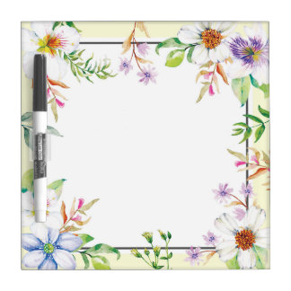 Beautiful Watercolor Floral Dry Erase Board
