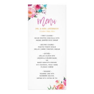 Beautiful Watercolor Floral Modern Wedding Menu