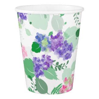 Beautiful Watercolor Hydrangea Mix Paper Cup