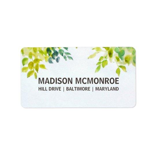 Beautiful Watercolor Leaves Wedding Label