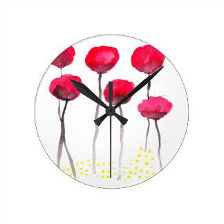 Beautiful watercolor poppies wallclock