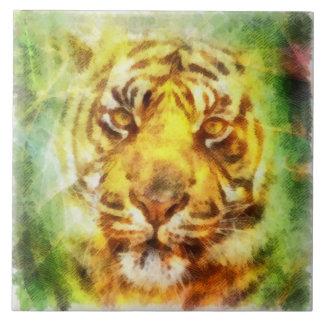 Beautiful Watercolor Tiger Large Square Tile