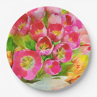 Beautiful watercolor tulips on paper plates