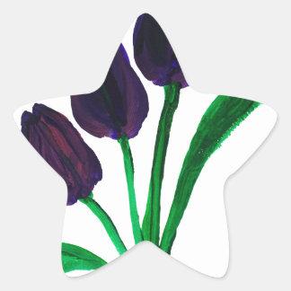 Beautiful watercolor tulips star sticker