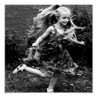 Beautiful Watercolor Twirling Girl Poster