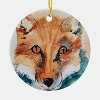 Beautiful Watercolour Fox Ceramic Ornament