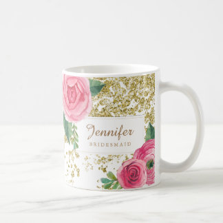 Beautiful Watercolour Roses with Gold Glitter Mug