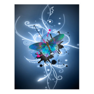 Beautiful watercolours glowing effects butterfly postcard