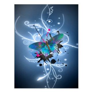 Beautiful watercolours glowing effects butterfly postcard