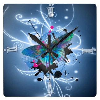 Beautiful watercolours glowing effects butterfly square wall clock