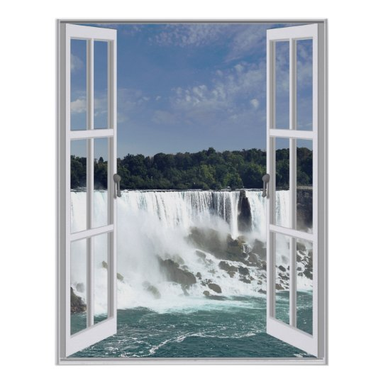 Beautiful Waterfall Faux Window View Poster