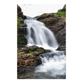 Beautiful waterfall in cold mountain river stationery