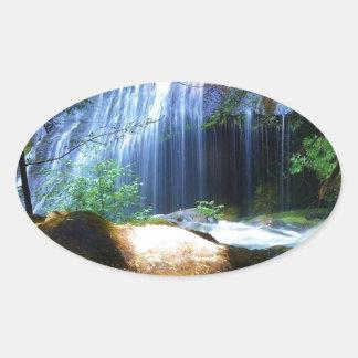 Beautiful Waterfall Jungle Landscape Oval Sticker