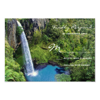 Beautiful Waterfall Outdoor Wedding RSVP Cards