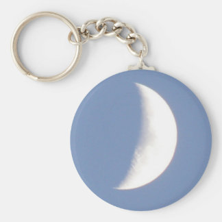 Beautiful Waxing Crescent Moon in Daylight Keychai Basic Round Button Key Ring