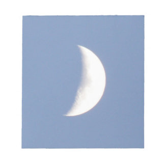 Beautiful Waxing Crescent Moon in Daylight Notepad