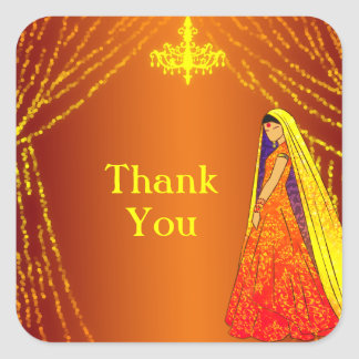Beautiful Wedding Bride Thank You Favor Sticker