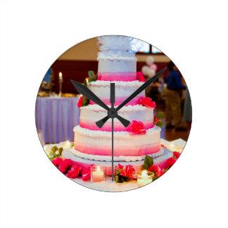 Beautiful Wedding Cake Round Clock