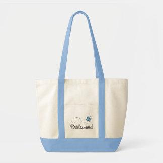 Beautiful Wedding Day Bridesmaid Blue Tote Bag
