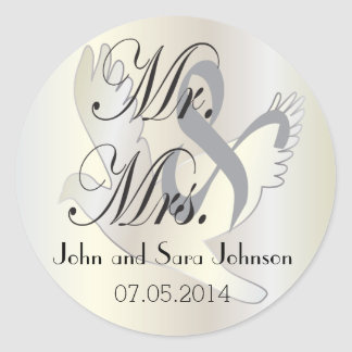 Beautiful Wedding Dove | Pesonalize Round Sticker