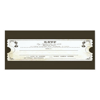 beautiful wedding vintage ticket RSVP Card