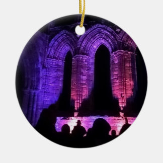 Beautiful Whitby Abbey hanging disk Christmas Ornament