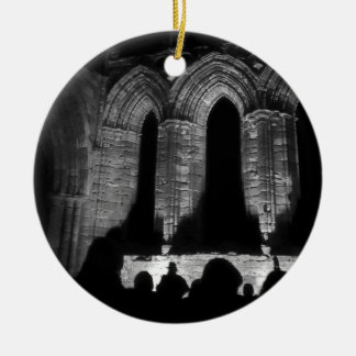Beautiful Whitby Abbey ruins hanging disk Christmas Ornament