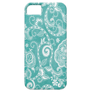 Beautiful white and blue flowers leaves and swirls iPhone 5 covers