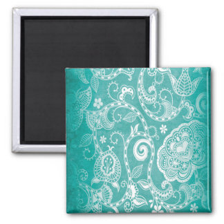 Beautiful white and blue flowers leaves and swirls square magnet