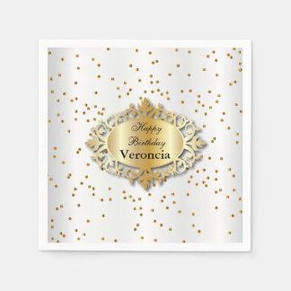 Beautiful White and Gold Confetti - Template Disposable Napkin