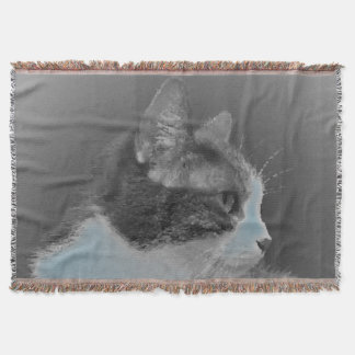 Beautiful White and Gray Cat Profile Throw Blanket