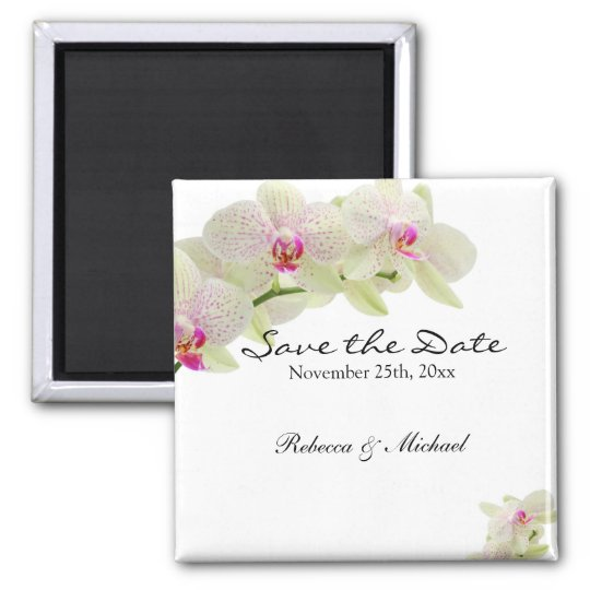Beautiful White and Hot Pink Orchids Save the Date Square Magnet