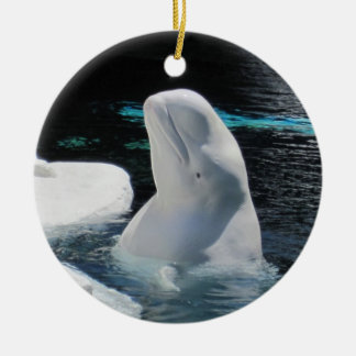 Beautiful White Beluga Whale Holiday Christmas Ornament