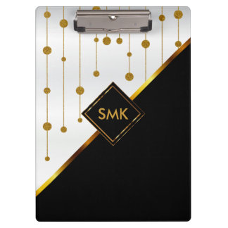 Beautiful White, Black and Gold Art Deco Design Clipboards