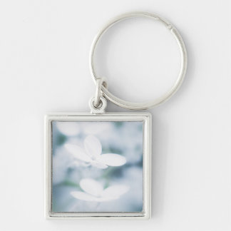 Beautiful white blossoms Silver-Colored square key ring