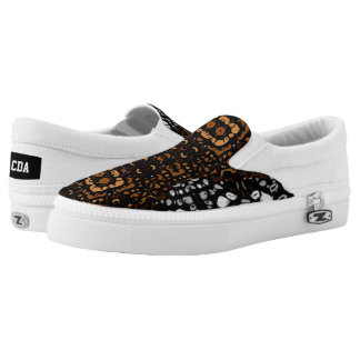 Beautiful White Brown Abstract Pattern Printed Shoes