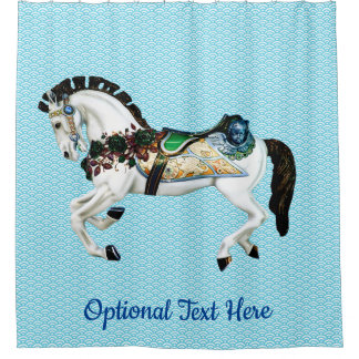 Beautiful White Carousel Horse Shower Curtain