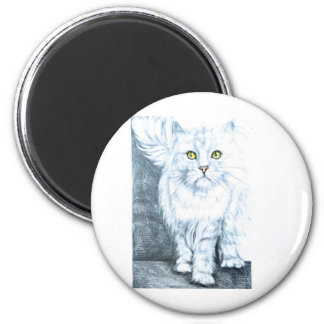 Beautiful white cat on chair refrigerator magnet