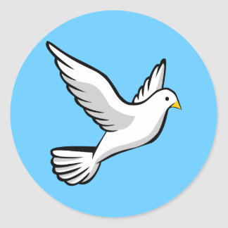 Beautiful white dove animation illustration round sticker