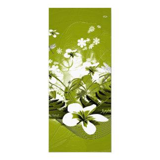 Beautiful white flowers 10 cm x 24 cm invitation card