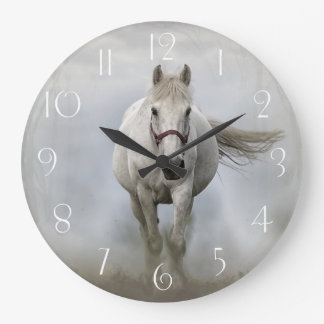 Beautiful white horse in mist large clock