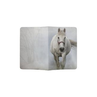 Beautiful white horse in mist passport holder