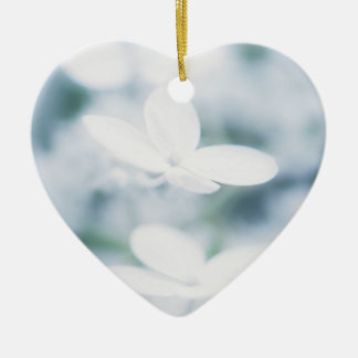Beautiful white hydrangea blossoms. christmas ornament