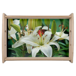 Beautiful White Lilies Floral Picture Serving Tray