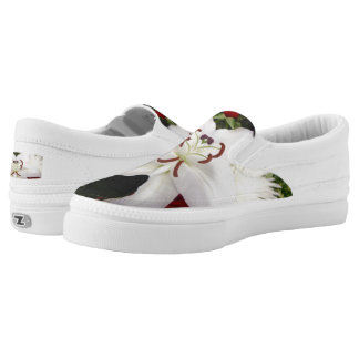 Beautiful White Lily  Zipz Slip On-Shoes US Women Slip-On Shoes