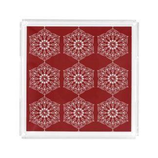 Beautiful White Mandala Flower On Red Acrylic Tray