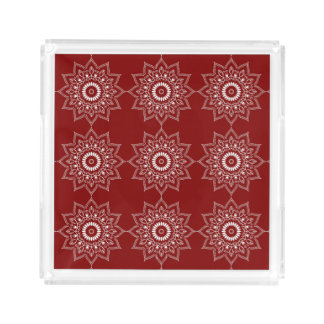 Beautiful White Mandala Flower On Red Acrylic Tray