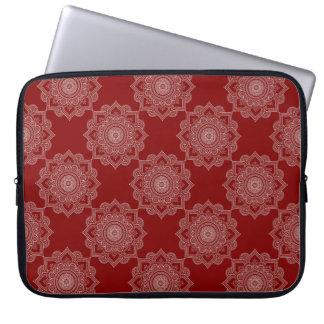 Beautiful White Mandala Flower On Red Laptop Sleeve